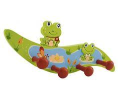 Bieco Garderobe Kinder Frosch   Kindergarderobe Holz mit Kinder Kleiderhaken   Garderoben-Leiste   Wandgarderobe   Kleiderhaken Kinder Garderoben   Garderobenleiste Kinder 26 cm 4 Haken