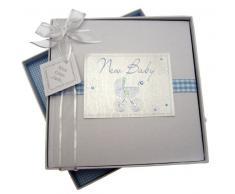 White Cotton Cards Bliss Baby-Fotoalbum, mittelgroß, Design mit blauem Kinderwagen, englische Aufschrift New Baby