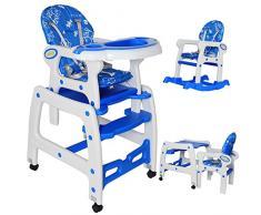Seelux beweglicher 3 in 1 Multi Kinderhochstuhl mit Schaukelfunktion, Rollen mit Bremse, verstellbar (Blau)