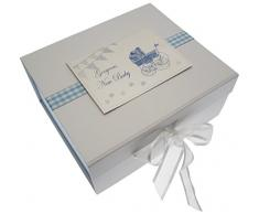 New Baby Erinnerungsstücke, Box, blau klein Kinderwagen & Wimpelkette