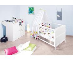 Pinolino - 090022 - Sparset Viktoria, 2-teilig, Kinderbett (140 x 70 cm) und Wickelkommode, weiß