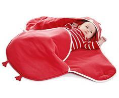 Wallaboo Einschlagdecke Universal für Babyschale, Autokindersitz, für Kinderwagen, Buggy, Babybett, Schönen Blumenform, Baumwolle, 90 x 70 cm, 0 - 12 Monaten, Farbe: Rot