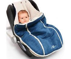 Wallaboo Fußsack, Kuschelig-Weiches Veloursleder, 0-12 Monaten, Universal für Babyschale, Autositz, z.B. für Maxi-Cosi, Römer, für Kinderwagen, Buggy oder Babybett, Farbe: Blau