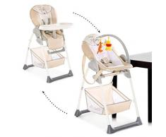 Hauck Sit'n Relax Newborn Set – Neugeborenen Aufsatz und Kinderhochstuhl ab Geburt, mit Liegefunktion / inkl. Spielbogen, Tisch, Rollen / höhenverstellbar, mitwachsend, klappbar, pooh cuddles beige
