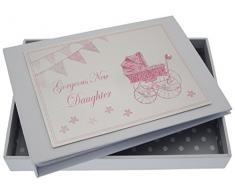 White Cotton Cards New Tochter Tiny Album (Pink Kinderwagen und Wimpelkette)