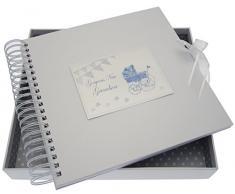 White Cotton Cards New Grandson Karte/Memory Book (blau Kinderwagen und Wimpelkette)