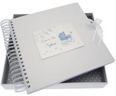 White Cotton Cards New Nephew Card/Memory Book (blau Kinderwagen und Wimpelkette)