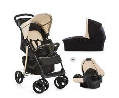 Hauck Shopper SLX Trio Set/Kombi 3 in 1 Kinderwagen/Babyschale/Sportwagen, Gr. 0, Babywanne mit Matratze, bis 25 kg, Liegefunktion, Getränkehalter, leicht, klein faltbar, schwarz beige