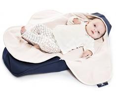 Wallaboo Einschlagdecke Coco, Universal für Babyschale, Autositz, zB. Für Maxi-Cosi, Römer, für Kinderwagen, Buggy oder Babybett, 100% Baumwolle, 90 x 70 cm, Farbe: Blau