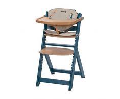 Safety 1st Timba Mitwachsender Hochstuhl und passendes Sitzkissen, inkl. abnehmbares Tischchen, hohe Rückenlehne, ab ca. 6 Monaten bis ca. 10 Jahre (max. 30 kg), Buchenholz, petrol blue (blau)
