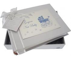 New Baby, klein Foto Album, blau Kinderwagen & Wimpelkette