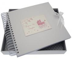White Cotton Cards New Daughter Card/Memory Pink Book (Kinderwagen und Wimpelkette)