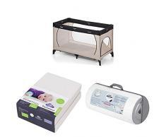 Premium Reisebett-Set mit Hauck-Reisebett, Premium Zöllner Matratze und einem Doppelpack Träumeland Spannbettücher