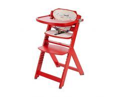 Safety 1st Timba, mitwachsender Hochstuhl aus massivem Buchenholz, inkl. passendem Sitzkissen & abnehmbarem Tisch, ab 6 Monate bis ca. 10 Jahre (max. 30 kg), red lines (rot)