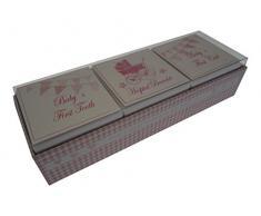 White Cotton Cards Baby s First Curl/Armband/Zahn-in Andenken Box Set (Rosa Kinderwagen und Wimpelkette)