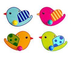Hess Holzspielzeug 30313 - Garderoben Vogel aus Holz, 12 cm (Farblich Sortiert)