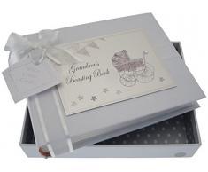 White Cotton Cards Kleines Fotoalbum Oma s Boasting Book (Silber Kinderwagen und Wimpelkette)