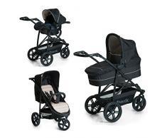 Hauck Rapid 3 Plus Trio Set/Dreirad Kinderwagen Set/isofix-fähige Babyschale/Liegebuggy, Gr.0, mit Matratze, ab Geburt bis 25 kg, höhenverstellbarer Griff, klein faltbar, leicht, Caviar/Beige