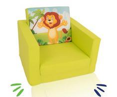 DELSIT DT5-1723 Delsit Kindersessel zum Ausklappbare Kinder Baby Sessel Spielzimmer Kindermöbel für Jungen und Mädchen, ZOO, grün, grün