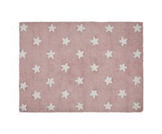 Lorena Canals Waschbarer Teppich Stars 100% Baumwolle -Rosa- Weiß- 120x160 cm
