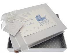 White Cotton Cards New Grandson Kleines Fotoalbum (blau Kinderwagen und Wimpelkette)