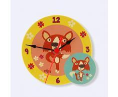 Dida - Analoge Tischuhr - Füchse - Für Das Kinderzimmer, Den Nachttisch Oder Den Schreibtisch
