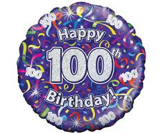 Suki Gifts 100. Geburtstag Luftschlangen Folienballon, violett, 45cm (18)