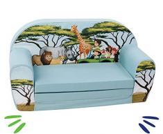 DELSIT universelles Kindersofa zum Ausklappen Ausklappbare Kinder Sofa Kindermöbel für Jungen und Mädchen SAFARI Blau