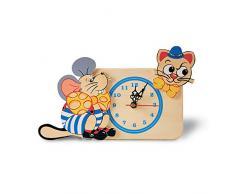 Dida - Analoge Tischuhr - Katze Und Maus - Für Das Kinderzimmer, Den Nachttisch Oder Den Schreibtisch