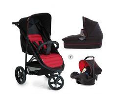 Hauck Rapid 3 Plus Trio Set/Dreirad Kinderwagen Set/isofix-fähige Babyschale/Liegebuggy, Gr.0, Babywanne mit Matratze, ab Geburt bis 25 kg, höhenverstellbarer Griff, klein faltbar, leicht, schwarz rot