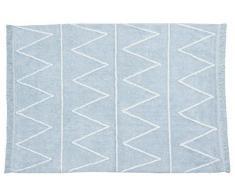 Lorena Canals Waschbarer Teppich Hippy 100% Baumwolle -Hellblau- Weiß- 120x160 cm