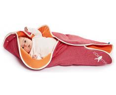 Wallaboo Einschlagdecke Fleur für Babyschale, Autokindersitz, für Kinderwagen, Suße Blumenform, 100% Baumwolle, 85 x 85 cm, 0 - 12 Monaten, Farbe: Rot - Orange