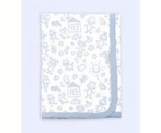 Ti TIN - weiche, saugfähige Babydecke, 80x75 cm | Krabbeldecke aus 100% Baumwolle mit doppellagigen Stoff, Babydecke fürs Auto, Wiege, Kinderwagen, Babyschale, etc, Kinder-Motiv, blau