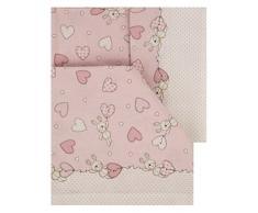 Italienische Bettwäsche 100% Baumwolle Kinderbett 60 x 120 (Set 3-teilig: Bettlaken + Bettbezug + Kissenbezug). Modell Bari. Pink