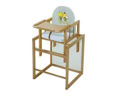 roba Kombi-Hochstuhl, Hochstuhl mit Essbrett wandelbar zu Tisch & Stuhl, Kinderhochstuhl Holz natur, Sitz gepolstert Biene Maja
