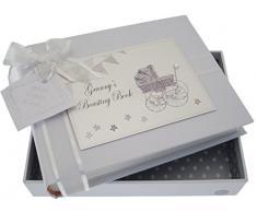 White Cotton Cards Kleines Fotoalbum Granny s Boasting Book (Silber Kinderwagen und Wimpelkette)