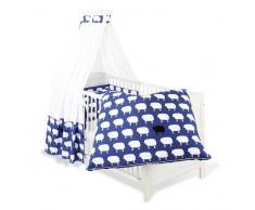 Pinolino 60522-1 - Set für Kinderbett, 4-tlg., Happy Sheep blau