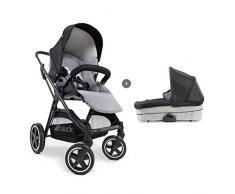Hauck Mars Duoset Sportwagen + Beindecke + Babywanne, Sitz drehbar, bis 25 kg, 3XL Verdeck, großer Korb, kompakt faltbar, kompatibel mit Babyschale, caviar/stone