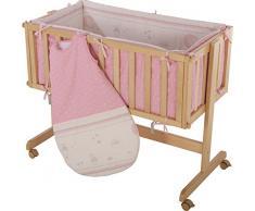 roba 8957 V153 Beistellbett Glücksengel rosa Liegefläche 87,5 x 44 cm inklusiv Matratze, Schlafsack 70 cm und Nestchen