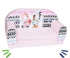 Delsit Kindersofa zum Ausklappbare Kindersessel Spielzimmer Kinder Sofa Baby Kindermöbel für Mädchen Camping, rosa