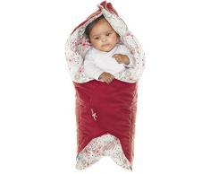 Wallaboo Einschlagdecke Leaf für Babyschale, Autokindersitz, für Kinderwagen, Buggy, Babybett, Schönen Blumenform, Veloursleder und Baumwolle, 85 x 85 cm, 0 - 12 Monaten, Farbe: Rot
