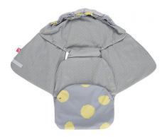 Baby Softshell Einschlagdecke für Babyschale, Autositz, Maxi-Cosi, Römer und andere Marken, ideal für Kinderwagen, Fahrradanhänger, Buggy - Kleckse gelb