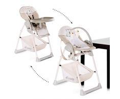 Hauck Sitn Relax 3 in 1 Newborn Set - Neugeborenen Aufsatz und Kinderhochstuhl ab Geburt, mit Liegefunktion / inkl. Spielbogen, Tisch, Rollen / höhenverstellbar, mitwachsend, klappbar-Friend (braun)