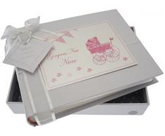 White Cotton Cards Kleines Fotoalbum NEW Nichte (Pink Kinderwagen und Wimpelkette)