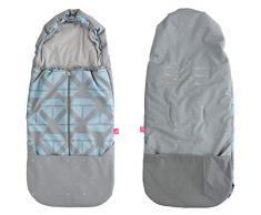 Fußsack aus SOFTSHELL für Buggy Kinderwagen Babyschale wasserdicht und winddicht- Schiffe blau