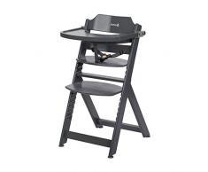 Safety 1st Timba Mitwachsender Hochstuhl, inkl. abnehmbares Tischchen, aus massivem Buchenholz, hohe Rückenlehne, ab ca. 6 Monaten bis ca. 10 Jahre (max. 30 kg), Buchenholz, warm grey (grau)