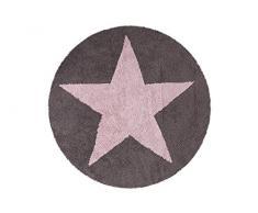 Lorena Canals Waschbarer Teppich Reversible Star 100% Baumwolle -Dunkelgrau- Hellrosa- 140x140 cm