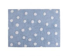 Lorena Canals Waschbarer Teppich Polka Dots 100% Baumwolle -Blau- Weiß- 120x160 cm