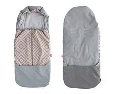 Fußsack aus SOFTSHELL für Buggy Kinderwagen Babyschale wasserdicht und winddicht- Quadrate apricot