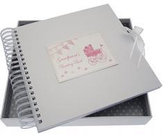 White Cotton Cards Grandparent s Boasting Card/Memory Pink Book (Kinderwagen und Wimpelkette)